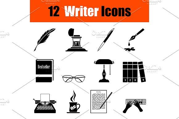 Set of writer icons by angelp on @creativemarket
