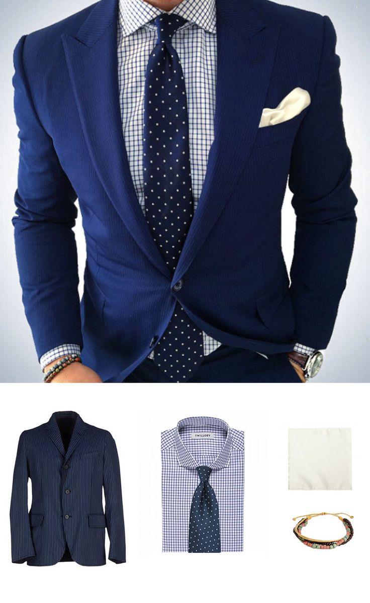 Polka Dot Tie and Blue Jacket