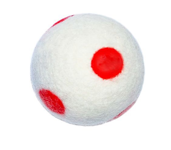 Polka Dot Witty&White hand felted dog's ball