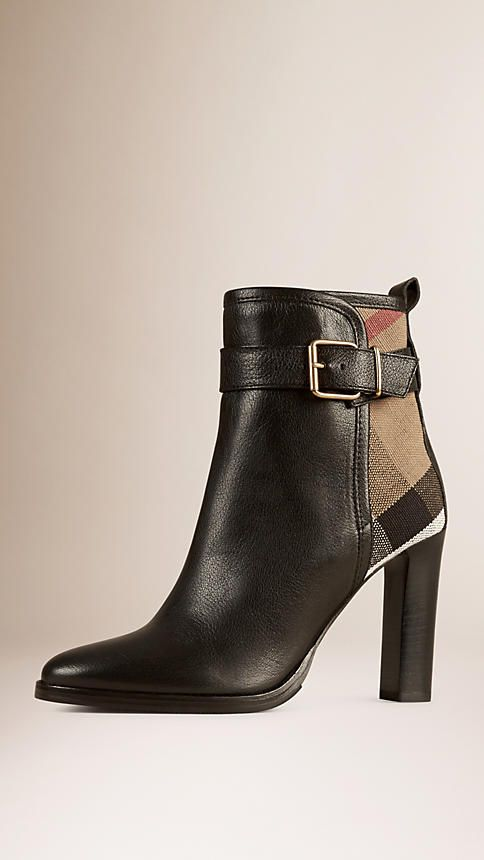 Black Canvas Check and Leather Ankle Boots - Image 1