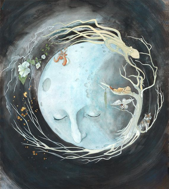 Moon Art Inspired by the Cycle of Life - Print by Heather Elder. $45.00, via Etsy.: