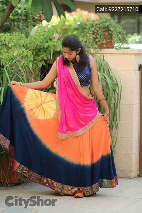 Orange,Pink and Blue Sleeve Cotton Lehenga Choli  #OrangeLehenga