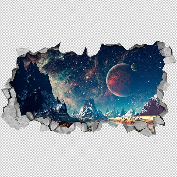 Space Broken Wall Decal - 3d Wallpaper - 3d wall decals - 3d printed - 3d wall art - 3d art - Wall Sticker - Wall Decal <-----------------------------------LINKS-----------------------------------> To view more Art that will look gorgeous on Your Walls Visit our Store: