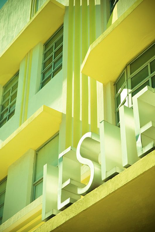 Well. I just love this because Leslie is my name and yellow is my favorite color. (Art Deco Miami Beach photography by Adam Sherbell): Beaches Hotels, Art Deco Miami Beaches Leslie, Beaches Signs, Adam Sherbel, Signage Design, Architecture, Artdeco, Deco Meeting, Photo Art