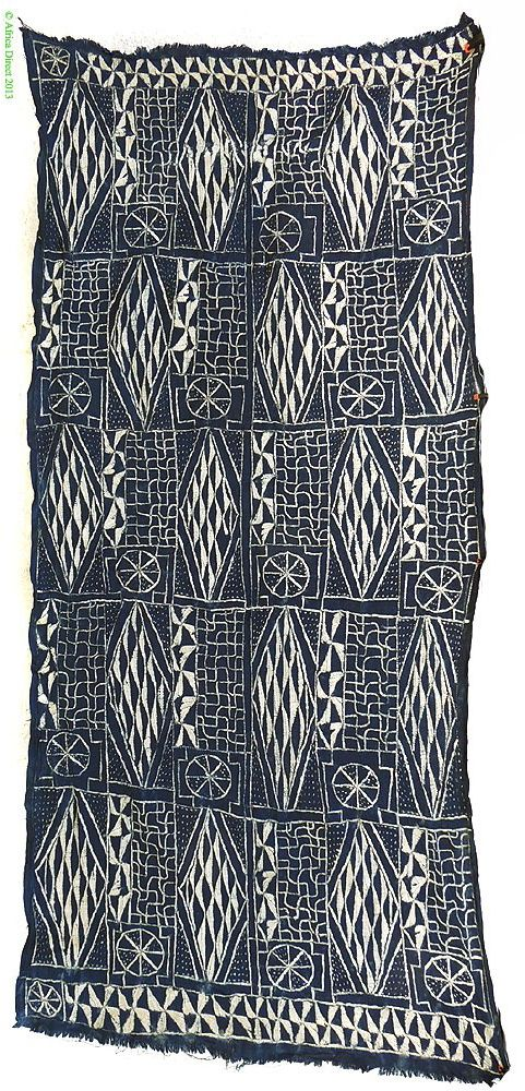 Africa | Ndop textile from the Bamileke, Bamum, Bamenda people of Cameroon | Raffia, cotton and indigo dyes | ca. mid 20th century
