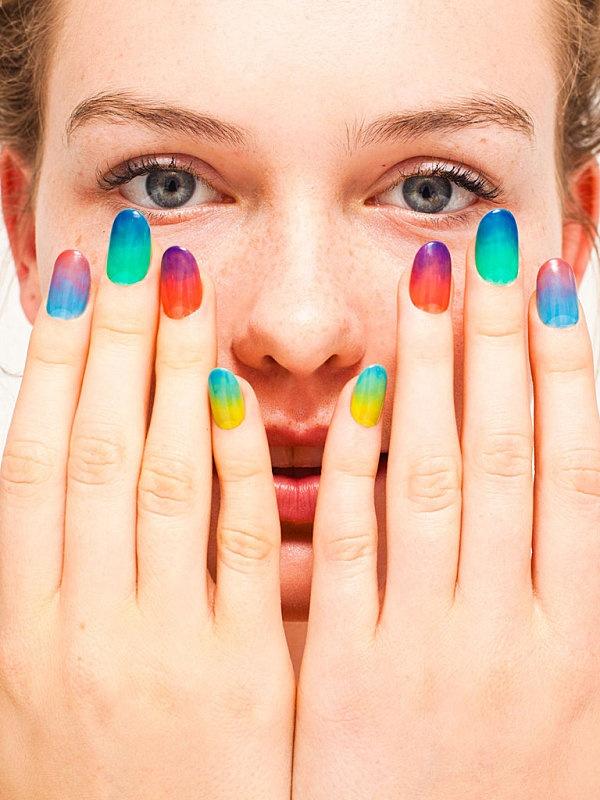 watercolor nails: Nails Art, American Apparel, Americanapparel, Colors Nails, Summer Nails, Nails Polish Collection, Ties Dyes, Gradient Nails, Rainbows Nails