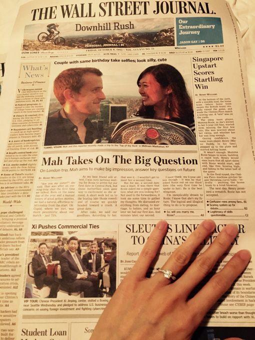 ¡Extra, extra! Una propuesta de matrimonio en la primera plana de un famoso diario