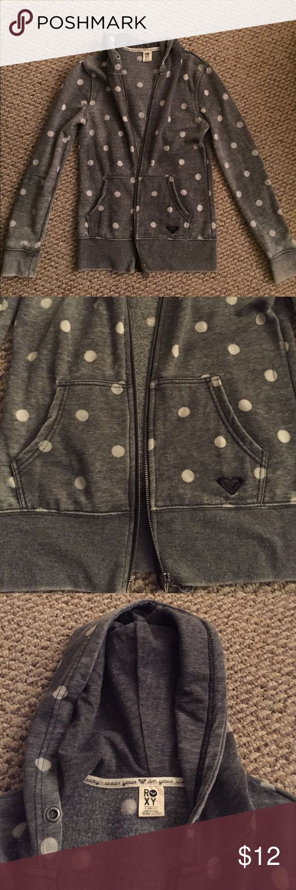 Roxy zip up hoodie Roxy grey polka dot zip up hoodie Roxy Tops Sweatshirts & Hoodies
