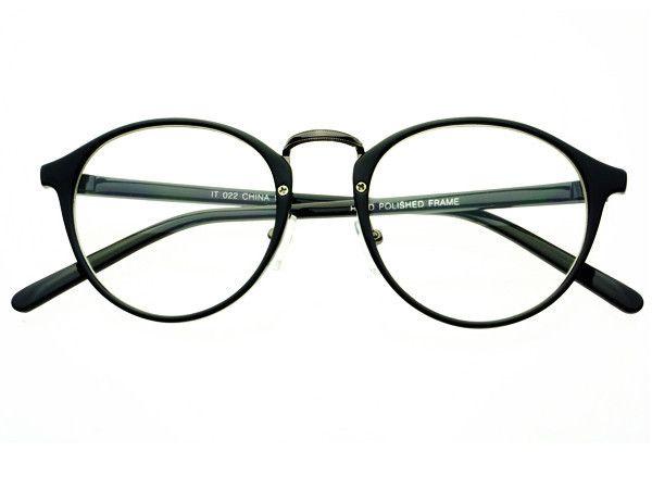 Clear Lens Vintage Fashion Round Glasses Black R451