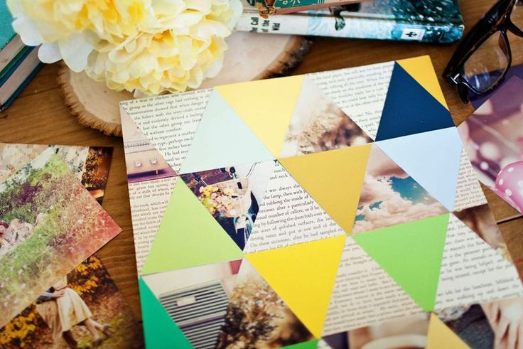 Use high-gloss photos and matte paint chips to make this photo art... I really like the newspaper :)