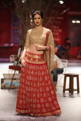 Sangeet Lehengas - Gold Sequins Blouse with Red and White Bandhni Lehenga and Gold Net Dupatta   WedMeGood #wedmegood #sangeet #lehengas
