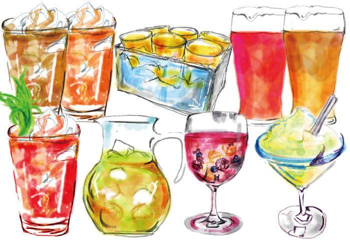 Food illustration: Cocktails & Drinks by Ayu Akiyama Delicious Design Tokyo, Japan