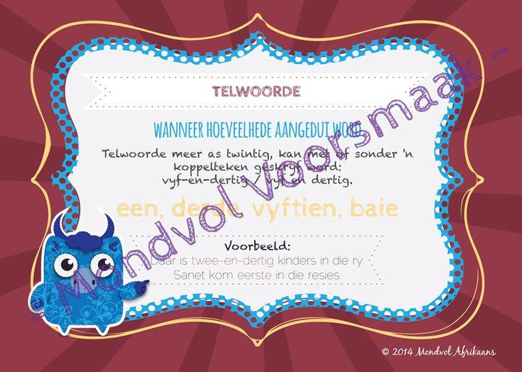 Digitale plakkate oor Telwoorde, beskikbaar op http://teachingresources.co.za/vendors/mondvol-afrikaans/