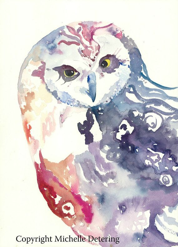 #Owl Watercolor Owl Illustration - Whimsical Owl #OwlArt