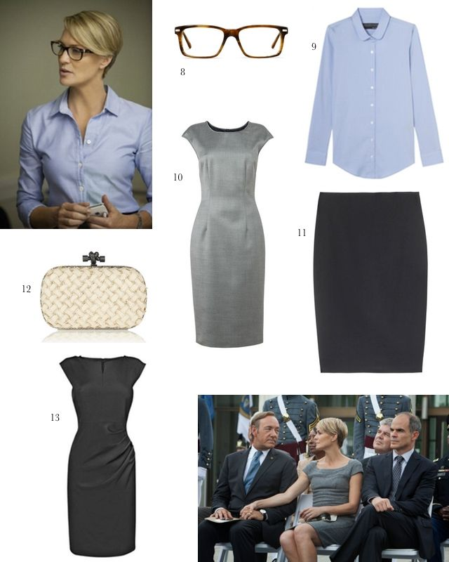 Screen Style: Claire Underwood//Work Wear: grey sheath with cap sleeves, blue oxford, black sheath with cap sleeves, black pencil skirt