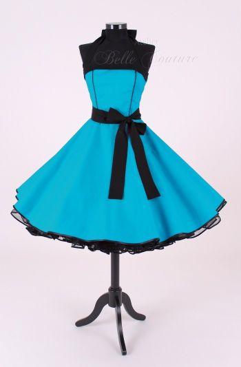Atelier Belle Couture | 50er Jahre Kleid türkis//schwarz