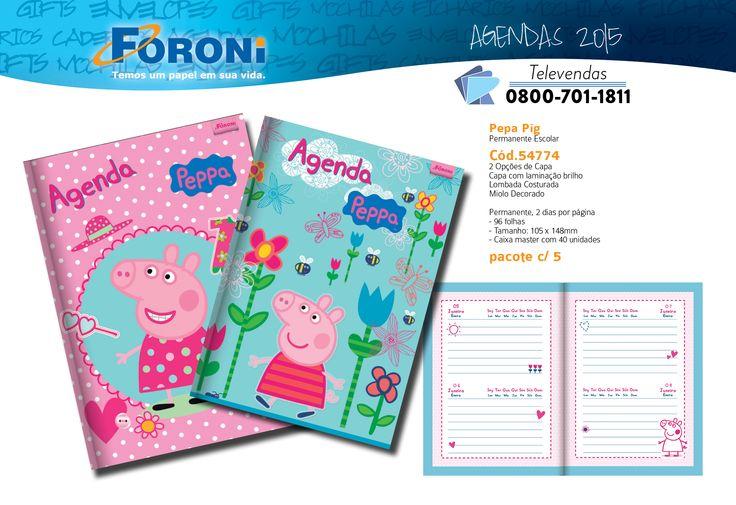 #Peppa Pig é o novo fenômeno entre a criançada. Que lindas essas #agendas 2015 da #Foroni <3 http://bit.ly/agendasforoni2015