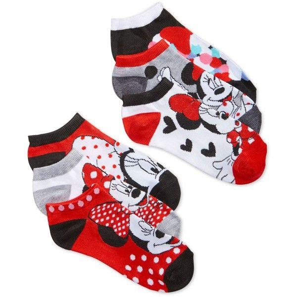 Disney Women's Minnie Mouse Classic No-Show Ankle Socks 6 Pack (105 SEK) ❤ liked on Polyvore featuring intimates, hosiery, socks, red assorted, red socks, disney and disney socks