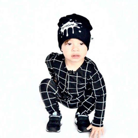 Hey BB baby onesie / romper met zwart wit grid / ruiten   monochrome babykleding   unisex kleding voor peuters  