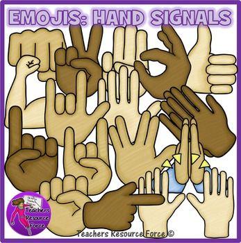 Emojis clip art: hand signals, crayon effect