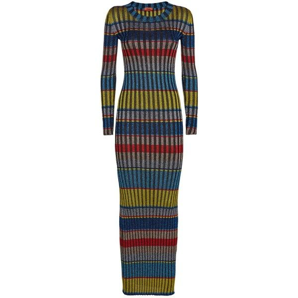 Missoni Metallic Stripe Dress ($1,255) ❤ liked on Polyvore featuring dresses, glitter bodycon dress, body con dresses, glitter maxi dress, sparkly dresses and bodycon maxi dresses