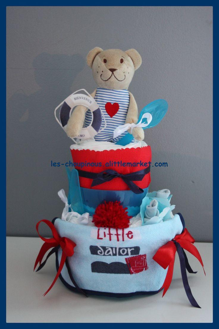 Préférence Les 125 meilleures images du tableau Gâteau de couches, cadeau  YE11