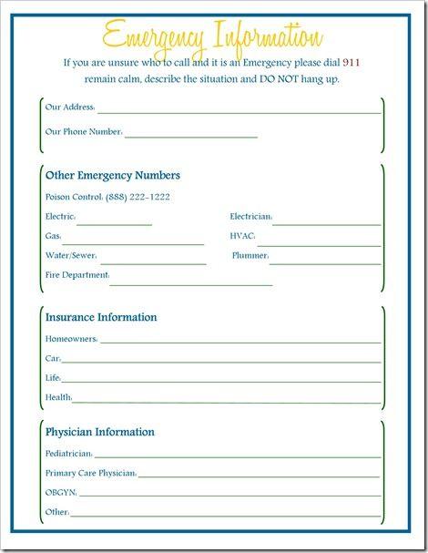 emergency information free printable  homebinder