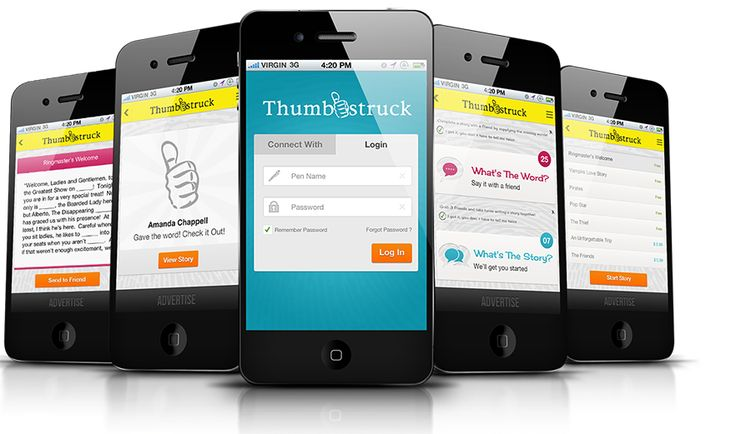 Thumbstruck :Thumbstruck is a social networking/ storytelling application that allows users to improvisationally write stories together through three methods of interaction: Choose my words, Use my words, and Fuse my words.