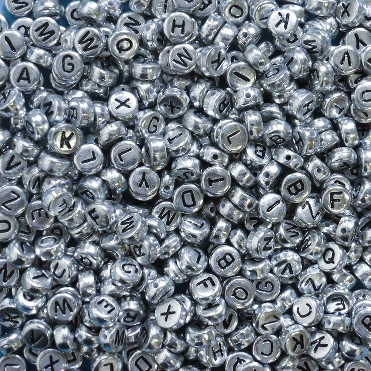 400 Silver Alphabet Beads