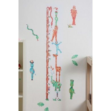 A giant forest tree is the measuring stick in this jungle animals height chart. The animals beside the tree are all balancing atop each other to make a great fun scene.
