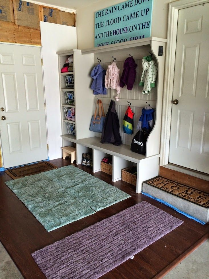 Garage Mudroom Project   Laminate Floors, Built Ins, Machine Washable Rugs,  And