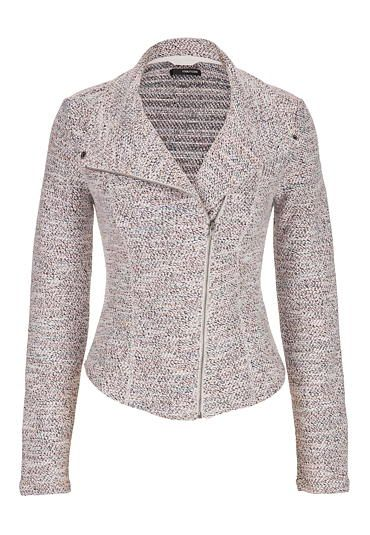 asymmetrical moto jacket in marled knit in multi (original price, $44) available at #Maurices