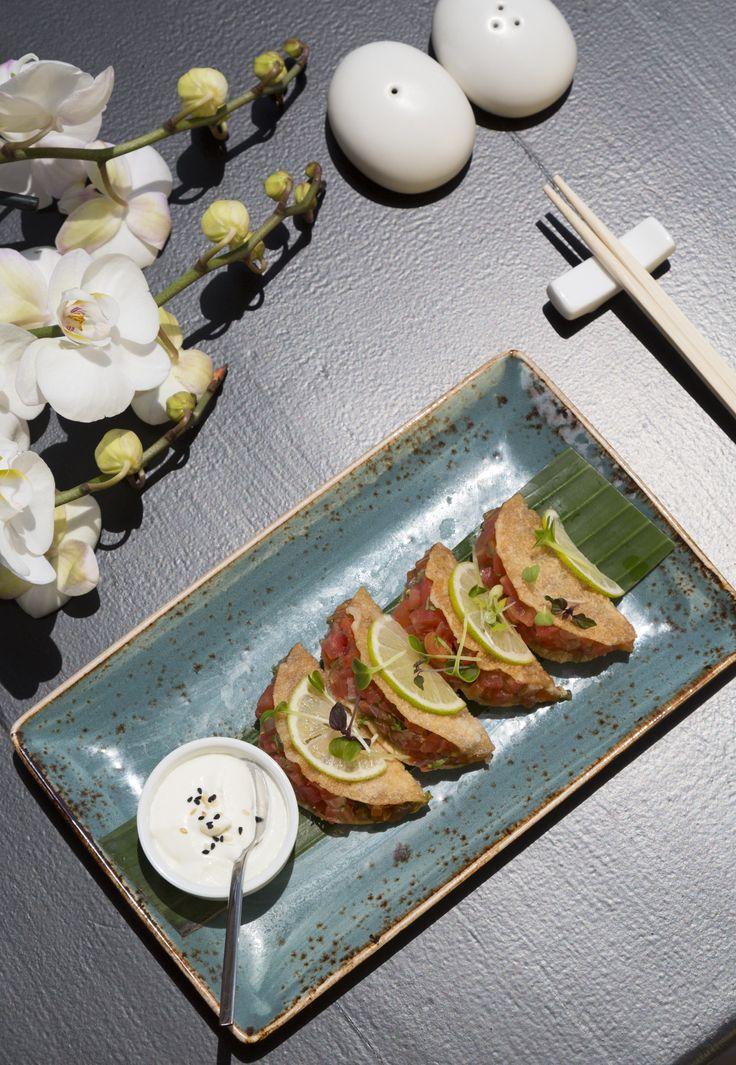 Buddha Bar sashimi tacos with sea bass & tuna  #tacos #sashimi #tuna #foodlovers
