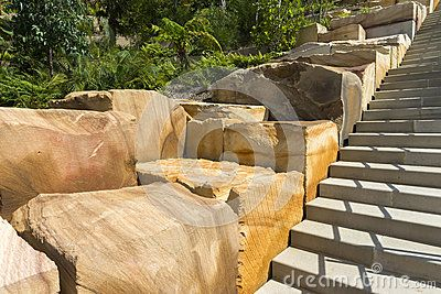 Girra Girra Steps at the Barangaroo Reserve, the large sandstone blocks were cut from the site. Copyspace.
