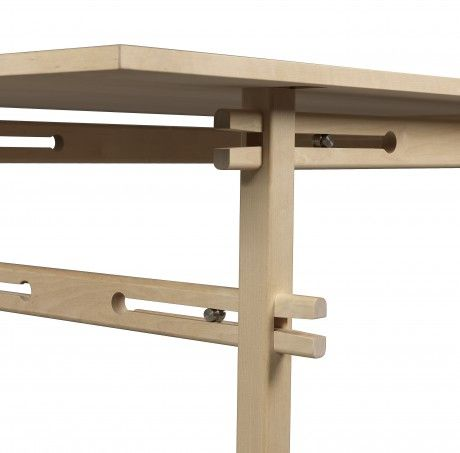 SPÄNNA table. Birch with self exciting undercarriage (without screws). h 72, l 244, d 87 cm.  Design by Gustav Person. Källemo 2014. Furniture of the Year – Sköna Hem.