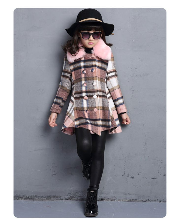 Barato Meninas Outerwear casaco de inverno nova moda Constract xadrez para crianças do sexo feminino crianças roupas 9658, Compro Qualidade Lã e Mesclas diretamente de fornecedores da China: