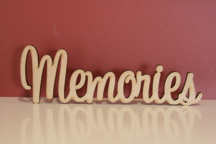 $10.50 (AUD) 10cm tall freestanding wooden  word Memories. Supplied in raw(unpainted) 9mm thick MDF. The same word can be made both smaller(cheaper) or bigger(extra).  http://www.decoroo.com.au/10cm-tall-freestanding-wooden-word-memories/