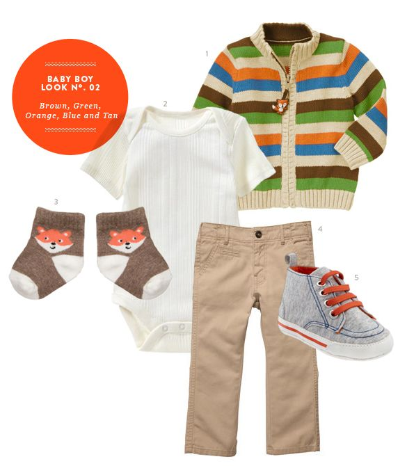 Baby Boy Outfits: Baby Boy Inspiration Board #02: Brown, Green, Orange, Blue and Tan Baby Boy Outfit from The Kids' Dept.
