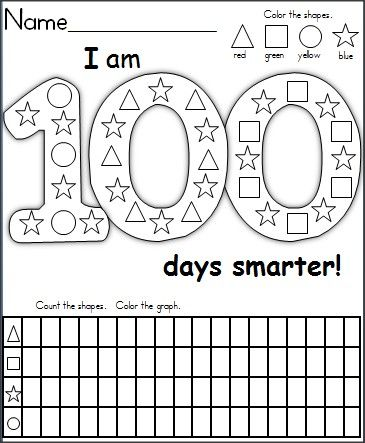 This is a FREE graphing and shape recognition activity for the 100th day of school.  It's a wonderful activity for 1st grade and capable Kindergarten students.  Children color the shapes, then they complete the graphing activity by counting the shapes in the 100 days picture.