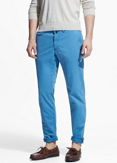 $23, Blue Chinos: Mango Slim Fit Gart Dyed Chinos. Sold by Mango. Click for more info: https://lookastic.com/men/shop_items/312843/redirect