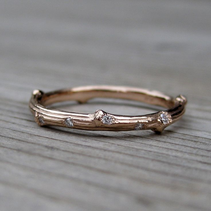 Scattered Diamond Twig Wedding Band (Five Diamonds) from Kristin Coffin Jewelry