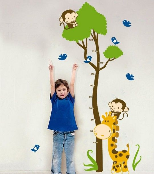 Modern House Monkey Height Measurement Growth Chart removable Vinyl Mural Art Wall Sticker Decal