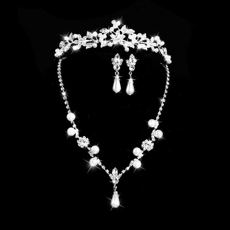 Wallmart.win Bridal Jewelry Sets For Brides With Hiar Jewelry Tiaras Crystal Pearl Rhinestone Pendant Earring Crown Hair Accessories:…