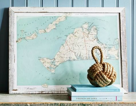 An abundance of charts. Navigate your way through the seas with chart decor: http://www.completely-coastal.com/2016/01/nautical-chart-decor.html From art to pillows to shower curtains!