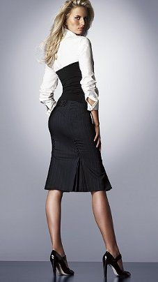 Прямая юбка с подрезом и односторонними складами - tutorial