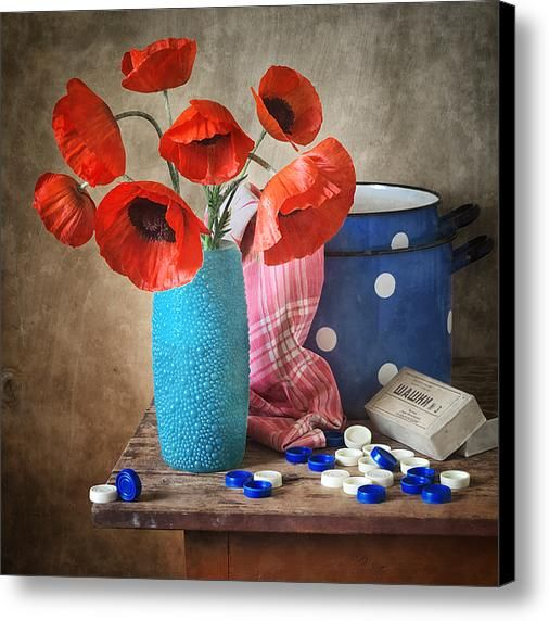 $52 • Canvas Print: http://nikolay-panov.artistwebsites.com/products/poppies-in-blue-plastic-vase-nikolay-panov-canvas-print.html • Floral #stilllifephotography with bouquet of fresh #poppies in #lightblue #plasticvase on #vintage #woodentable on brown background lighted by #daylight in #kitchen in #countryside in #summertime