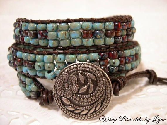 Beaded wrap bracelet,Leather Wrap Bracelet, Triple Wrap, Boho bracelet - 993
