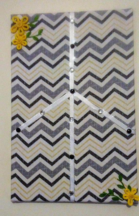 Chevron Fabric Cork board Black Gray Yellow Chevron Cork