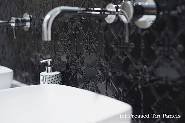 Pressed tin looks stunning in kitchens or bathrooms