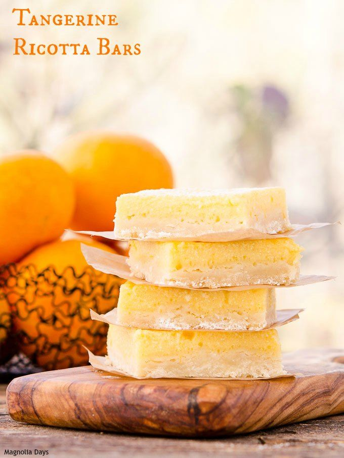 Tangerine Ricotta Bars have a light citrus flavour - cheesecake-like filling on a buttery crust